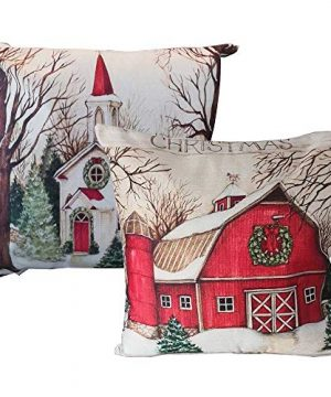 Christmas Throw Pillow Covers 18x18 Inch With Farm House Pattern For Couch Sofa Home Decoration Pillowcases Cushion WO Stuffing 2 Packs 0 300x360