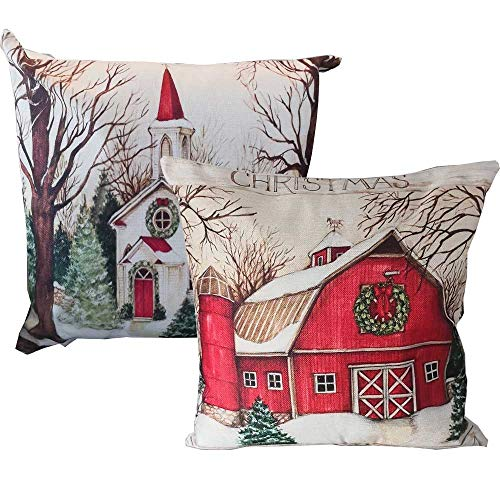 Christmas Pillow Covers 18x18 Inches Holiday Decoration With Farm House Pattern For Couch Sofa Home Decoration Pillowcases Cushion W O Stuffing 2