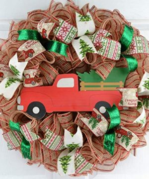 Christmas Tree Farm Truck Wreath Rustic Christmas Wreath Front Door Wreath Red Jute Green 0 300x360