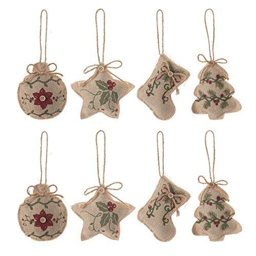Christmas Tree Ornaments Stocking Decorations 8pcs Christmas Stocking Tree Ball Star Holiday Party Decor 0