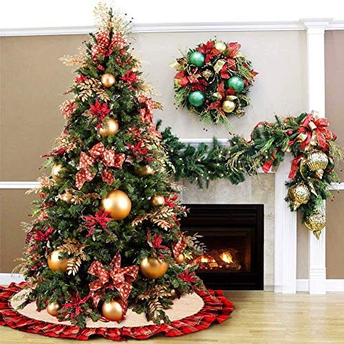 Christmas Tree Skirt 48 Inch Plaid Ruffle Edge Linen Burlap Tree Skirt Mat For Indoor Outdoor Christmas Decorations Home And Holiday Party Red Black 0 0