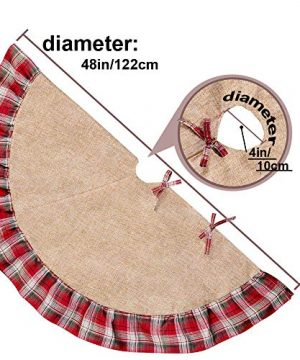 Christmas Tree Skirt 48 Inch Plaid Ruffle Edge Linen Burlap Tree Skirt Mat For Indoor Outdoor Christmas Decorations Home And Holiday Party Red Black 0 1 300x360