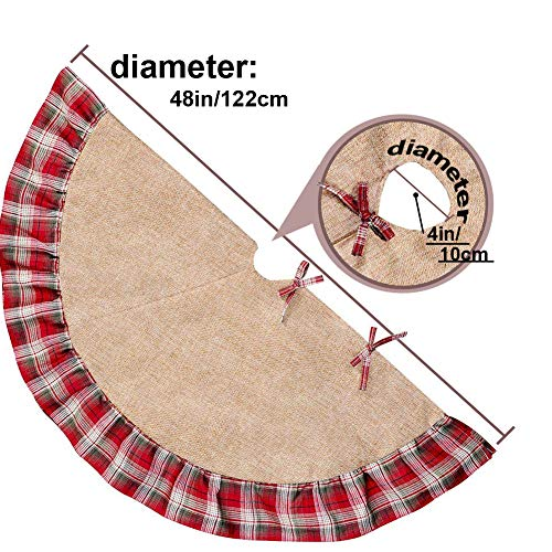 Christmas Tree Skirt 48 Inch Plaid Ruffle Edge Linen Burlap Tree Skirt Mat For Indoor Outdoor Christmas Decorations Home And Holiday Party Red Black 0 1