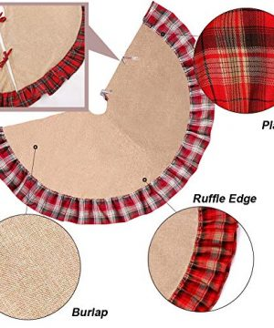 Christmas Tree Skirt 48 Inch Plaid Ruffle Edge Linen Burlap Tree Skirt Mat For Indoor Outdoor Christmas Decorations Home And Holiday Party Red Black 0 2 300x360