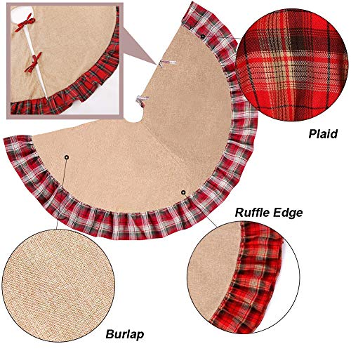 Christmas Tree Skirt 48 Inch Plaid Ruffle Edge Linen Burlap Tree Skirt Mat For Indoor Outdoor Christmas Decorations Home And Holiday Party Red Black 0 2