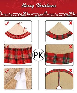 Christmas Tree Skirt 48 Inch Plaid Ruffle Edge Linen Burlap Tree Skirt Mat For Indoor Outdoor Christmas Decorations Home And Holiday Party Red Black 0 3 300x360