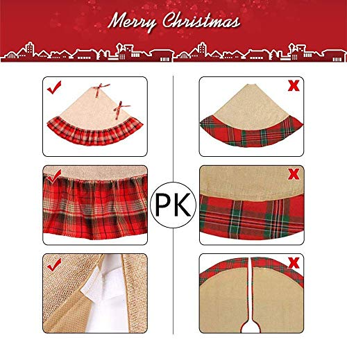 Christmas Tree Skirt 48 Inch Plaid Ruffle Edge Linen Burlap Tree Skirt Mat For Indoor Outdoor Christmas Decorations Home And Holiday Party Red Black 0 3