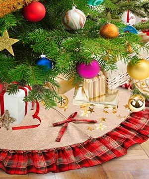 Christmas Tree Skirt 48 Inch Plaid Ruffle Edge Linen Burlap Tree Skirt Mat For Indoor Outdoor Christmas Decorations Home And Holiday Party Red Black 0 300x360