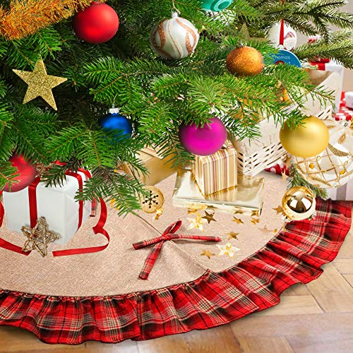 Christmas Tree Skirt 48 Inch Plaid Ruffle Edge Linen Burlap Tree Skirt Mat For Indoor Outdoor Christmas Decorations Home And Holiday Party Red Black 0