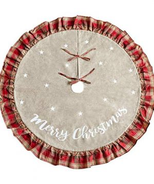 Christmas Tree Skirt 48 Inch Red And Black Plaid Ruffle Edge Linen Burlap Large Xmas Tree Skirts For Holiday Party Christmas Decorations 0 300x360