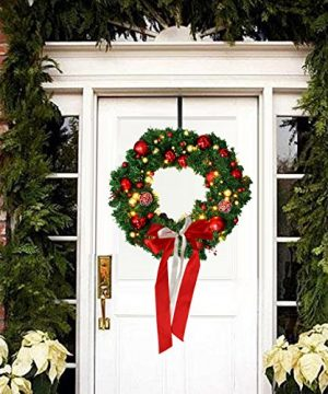 Christmas Wreath Large Christmas Wreath With Led Lights Pre Lit Xmas Door Wreath Artificial Pine Garland Decorated Christmas Wreath 24 Xmas Garland Battery Operated Over 200 Hours 0 0 300x360