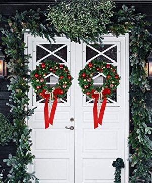 Christmas Wreath Large Christmas Wreath With Led Lights Pre Lit Xmas Door Wreath Artificial Pine Garland Decorated Christmas Wreath 24 Xmas Garland Battery Operated Over 200 Hours 0 1 300x360