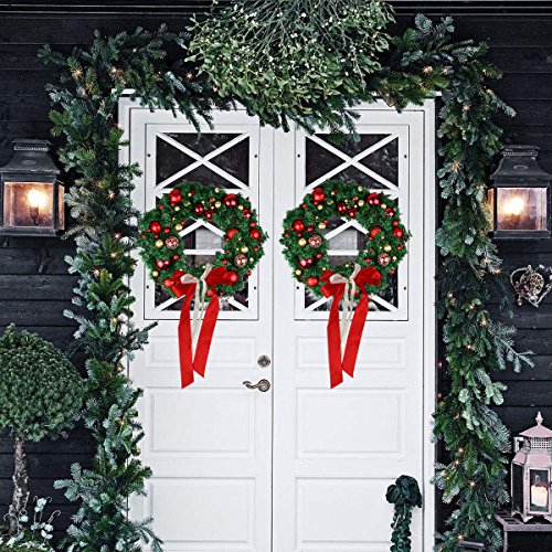 Christmas Wreath Large Christmas Wreath With Led Lights Pre Lit Xmas Door Wreath Artificial Pine Garland Decorated Christmas Wreath 24 Xmas Garland Battery Operated Over 200 Hours 0 1