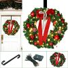 Christmas Wreath Large Christmas Wreath With Led Lights Pre Lit Xmas Door Wreath Artificial Pine Garland Decorated Christmas Wreath 24 Xmas Garland Battery Operated Over 200 Hours 0 100x100