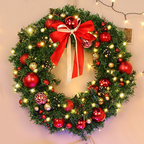 Christmas Wreath Large Christmas Wreath With Led Lights Pre Lit Xmas Door Wreath Artificial Pine Garland Decorated Christmas Wreath 24 Xmas