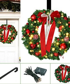 Christmas Wreath Large Christmas Wreath With Led Lights Pre Lit Xmas Door Wreath Artificial Pine Garland Decorated Christmas Wreath 24 Xmas Garland Battery Operated Over 200 Hours 0 300x360