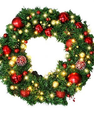 Christmas Wreath Large Christmas Wreath With Led Lights Pre Lit Xmas Door Wreath Artificial Pine Garland Decorated Christmas Wreath 24 Xmas Garland Battery Operated Over 200 Hours 0 4 300x360