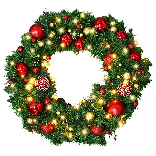 Christmas Wreath Large Christmas Wreath With Led Lights Pre Lit Xmas Door Wreath Artificial Pine Garland Decorated Christmas Wreath 24 Xmas Garland Battery Operated Over 200 Hours 0 4