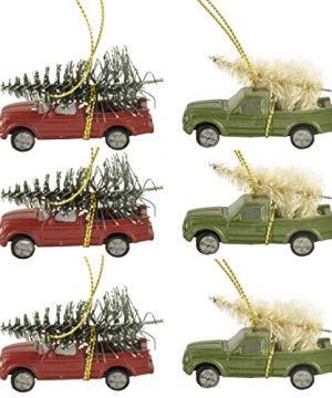 Cici Jimmys 6PCS 217 Long Christmas Ornament Pickup Truck With Pine Tree Ornament For Home Holiday Decor Gifts 0 300x360