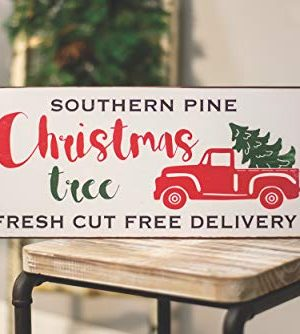 Col House Designs Red Truck Southern Pine Christmas Tree Metal Sign Farmhouse Christmas Red Truck Decor Vintage Christmas Decor 0 0 300x334