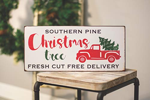 Col House Designs Red Truck Southern Pine Christmas Tree Metal Sign Farmhouse Christmas Red Truck Decor Vintage Christmas Decor 0 0