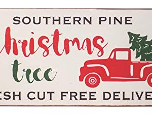 Col House Designs Red Truck Southern Pine Christmas Tree Metal Sign Farmhouse Christmas Red Truck Decor Vintage Christmas Decor 0 300x226