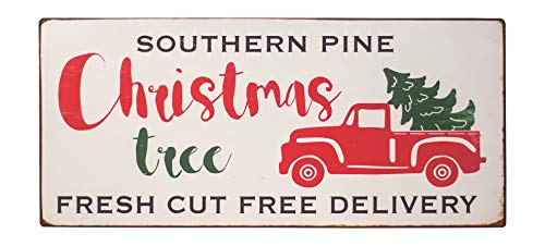 Col House Designs Red Truck Southern Pine Christmas Tree Metal Sign Farmhouse Christmas Red Truck Decor Vintage Christmas Decor 0