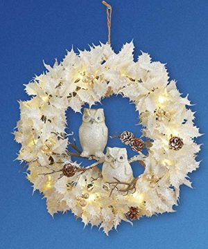 Collections Etc Lighted White Christmas Wreath WOwls 0 2 300x360