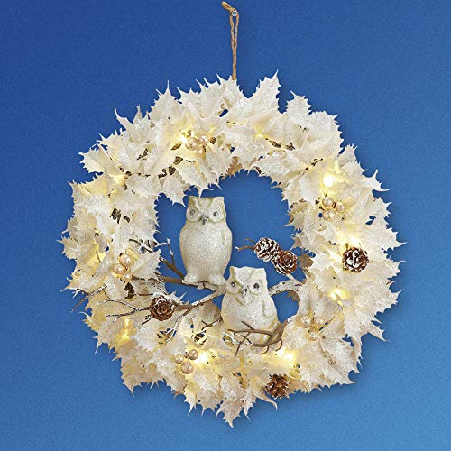 Collections Etc Lighted White Christmas Wreath WOwls 0 2