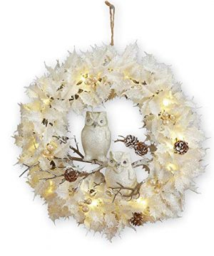 Collections Etc Lighted White Christmas Wreath WOwls 0 300x360