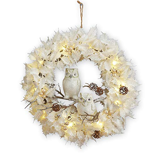 Collections Etc Lighted White Christmas Wreath WOwls 0