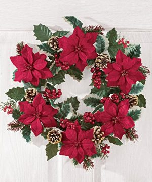 Collections Etc Poinsettia And Pine Holly Christmas Wreath 0 0 300x360