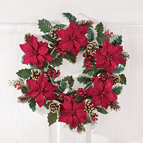 Collections Etc Poinsettia And Pine Holly Christmas Wreath 0 0