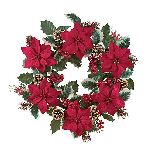 Collections Etc Poinsettia And Pine Holly Christmas Wreath 0