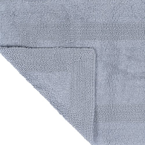 Cotton Bath Mat Plush 100 Percent Cotton 24x60 Long Bathroom Runner Reversible Soft Absorbent And Machine Washable Rug By Lavish Home Silver 0 0