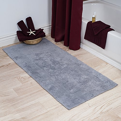 Cotton Bath Mat Plush 100 Percent Cotton 24x60 Long Bathroom Runner Reversible Soft Absorbent And Machine Washable Rug By Lavish Home Silver 0