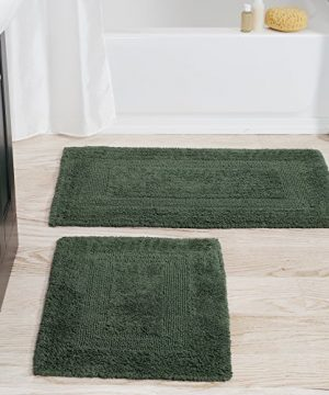 Cotton Bath Mat Set 2 Piece 100 Percent Cotton Mats Reversible Soft Absorbent And Machine Washable Bathroom Rugs By Lavish Home Green 0 300x360