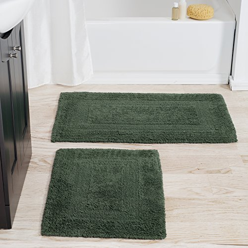 Cotton Bath Mat Set 2 Piece 100 Percent Cotton Mats Reversible Soft Absorbent And Machine Washable Bathroom Rugs By Lavish Home Green 0