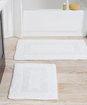 Cotton Bath Mat Set 2 Piece 100 Percent Cotton Mats Reversible Soft Absorbent And Machine Washable Bathroom Rugs By Lavish Home White 0 300x360