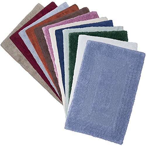Cotton Bath Mat Set 2 Piece 100 Percent Cotton Mats Reversible Soft Absorbent And Machine Washable Bathroom Rugs By Lavish Home White 0 4