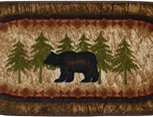Cozy Cabin CC5276 Birch Bear Non Skid Rug 20x44 Wedge Brown 0 300x230