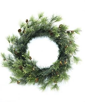 CraftMore Smokey Pine 24 Christmas Wreath With Firefly Lights 0 300x360