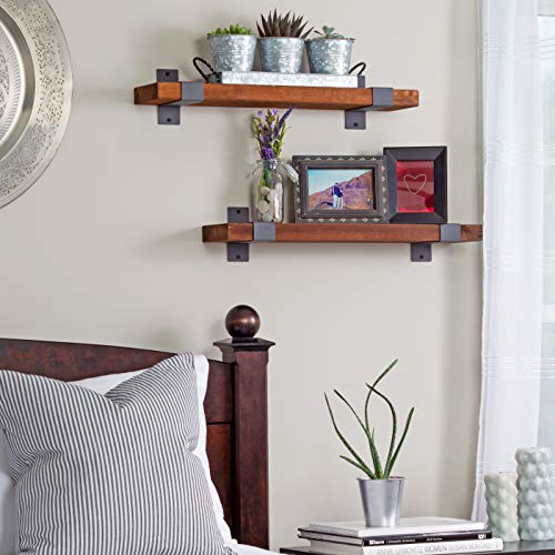 Craftsy Lyfe Rustic Floating Shelves Wooden Farmhouse Wall Mounted Shelf Industrial Reclaimed Natural Wood Decorative Bookshelf For Bathroom Bedroom Toilet Storage Kitchen Office Living Room Decor 0 2