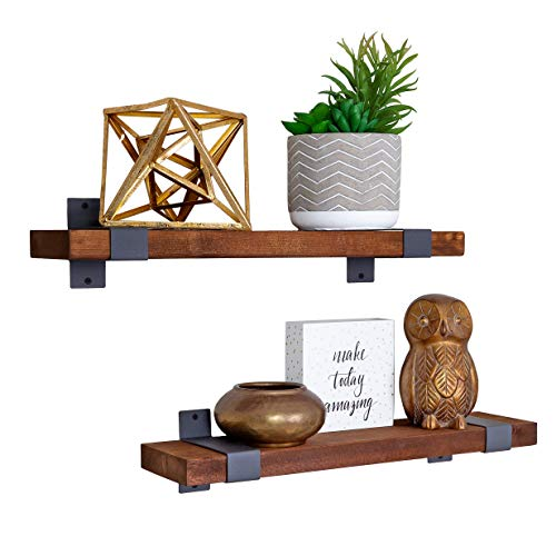 Craftsy Lyfe Rustic Floating Shelves Wooden Farmhouse Wall Mounted Shelf Industrial Reclaimed Natural Wood Decorative Bookshelf For Bathroom Bedroom Toilet Storage Kitchen Office Living Room Decor 0