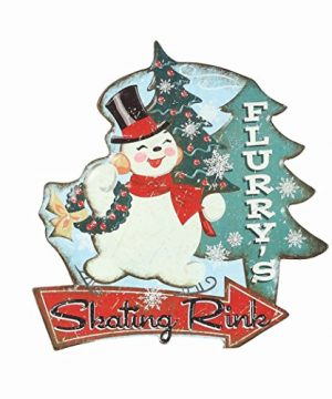 Creative Co Op 16 Faux Vintage 1950s Metal Christmas Advertising Sign With Fun Cartoon Image Snowman 0 300x360
