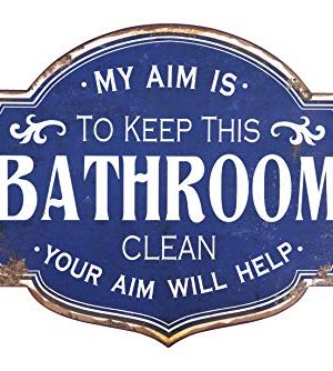 Creative Co Op Distressed My Aim Is To Keep Clean Metal Bathroom Decorative Wall Sign Blue 0 300x334