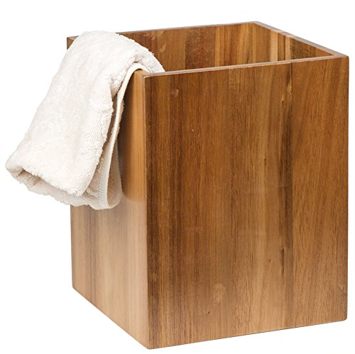 Creative Home Solid Acacia Wood Square Waste Basket Recycle Bin Trash Can Natural Finish 0 0