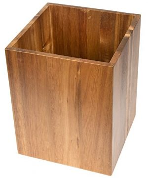 Creative Home Solid Acacia Wood Square Waste Basket Recycle Bin Trash Can Natural Finish 0 1 300x360