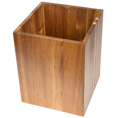 Creative Home Solid Acacia Wood Square Waste Basket Recycle Bin Trash Can Natural Finish 0 1