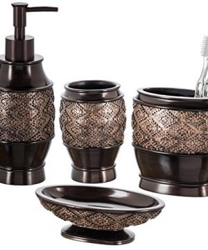 Creative Scents Dublin Bathroom Accessories Set Bathroom Decor Sets Accessories Includes Soap Dispenser Bar Soap Dish Tumbler And Toothbrush Holder For Your Restroom Vanity Countertop Brown 0 300x360